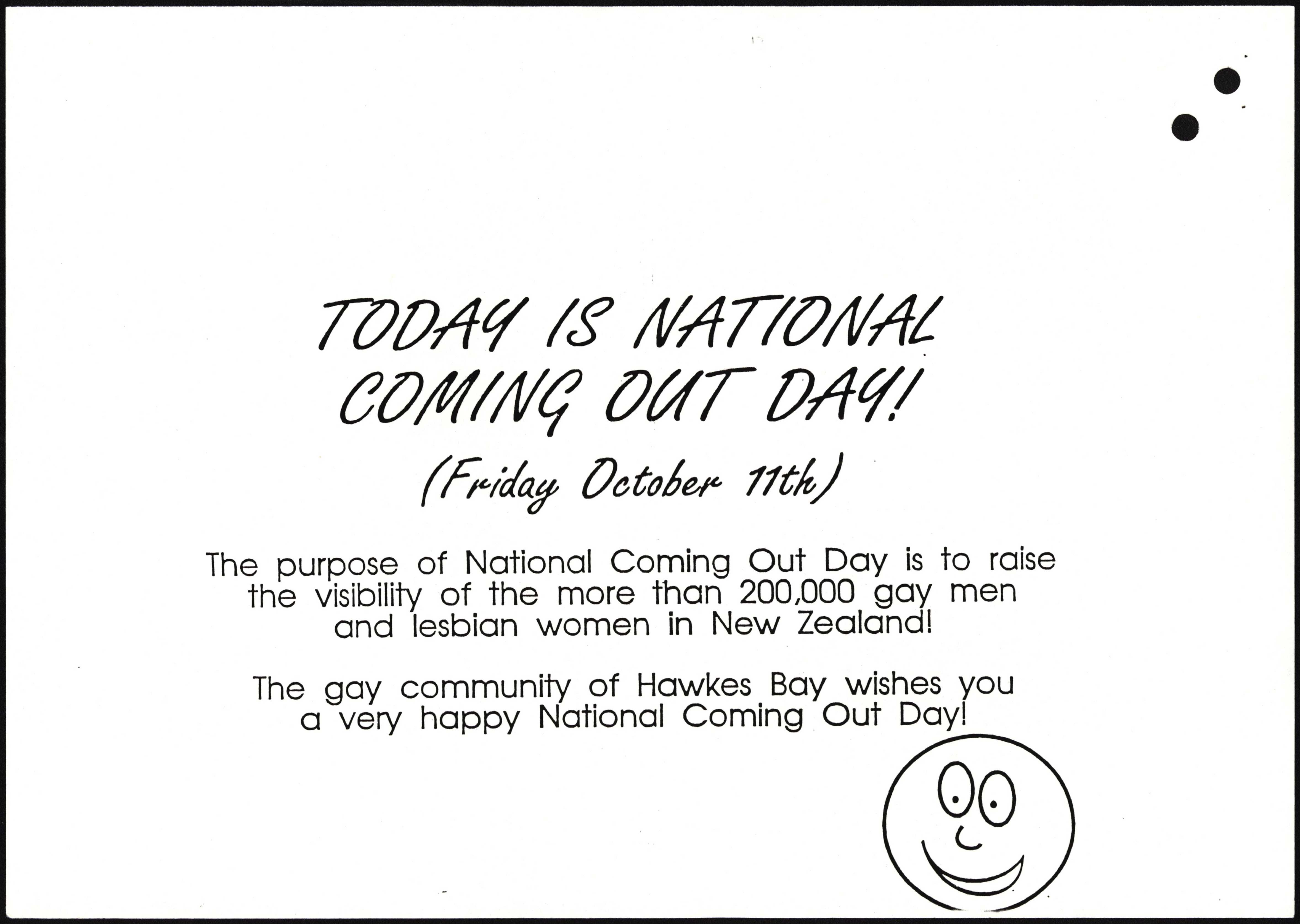 Image of a white paper poster with black text. There is a hand drawn smiley face at the lower right corner