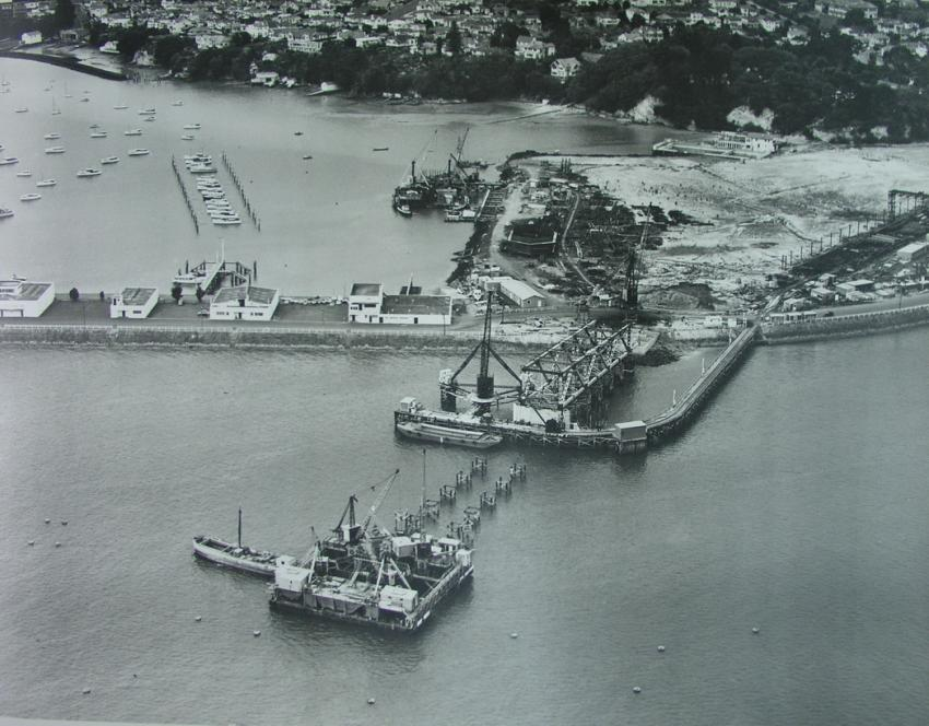 White's aviation image of Auckland Harbour Bridge construction.