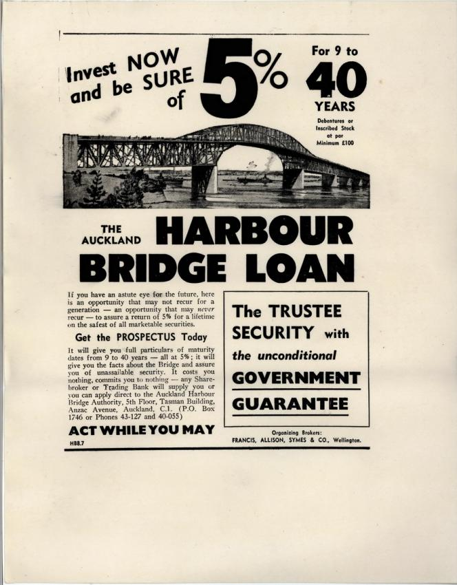 An advertisement for the Auckland Harbour Bridge loan