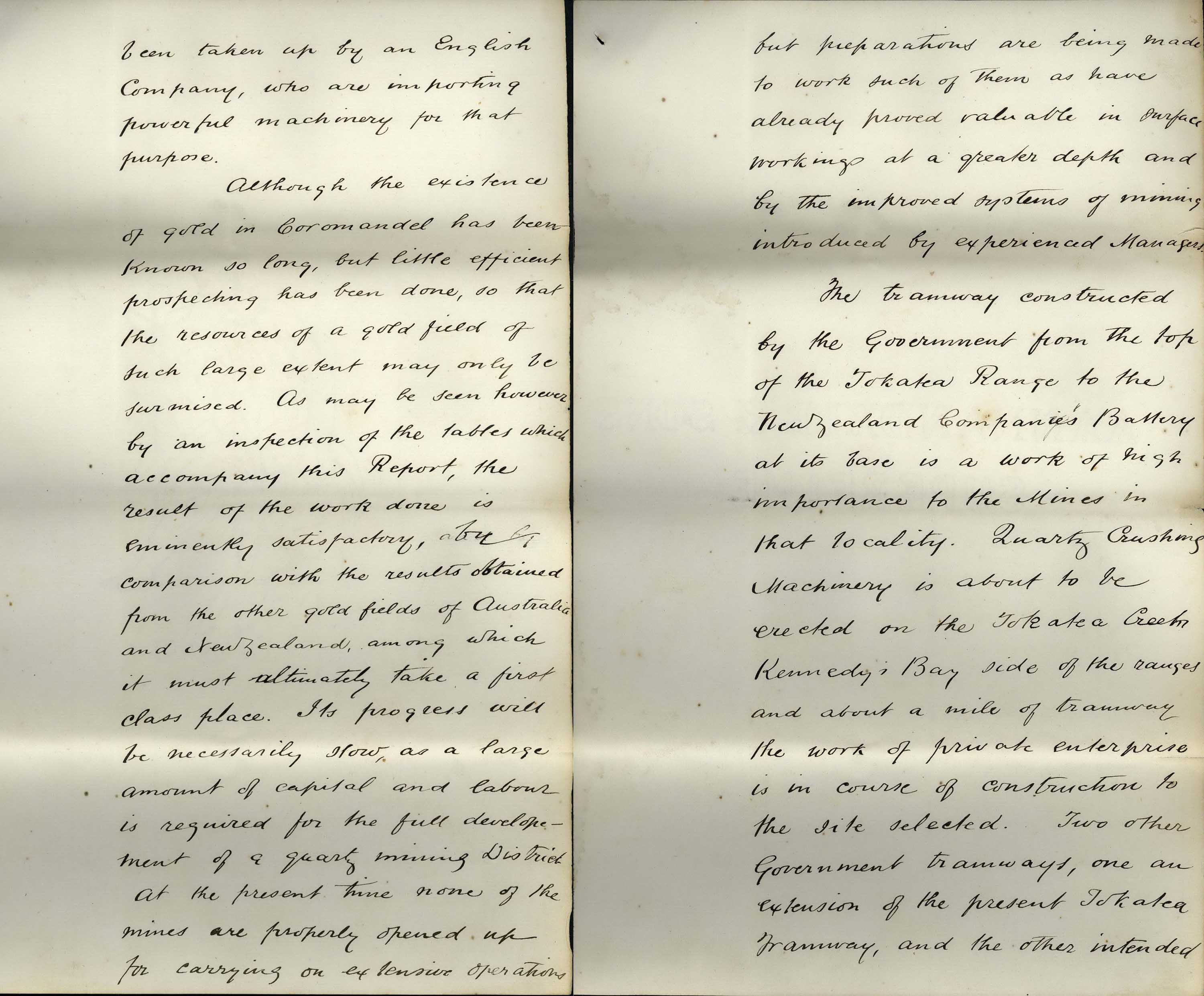 Digitised scan of a handwritten mining report.