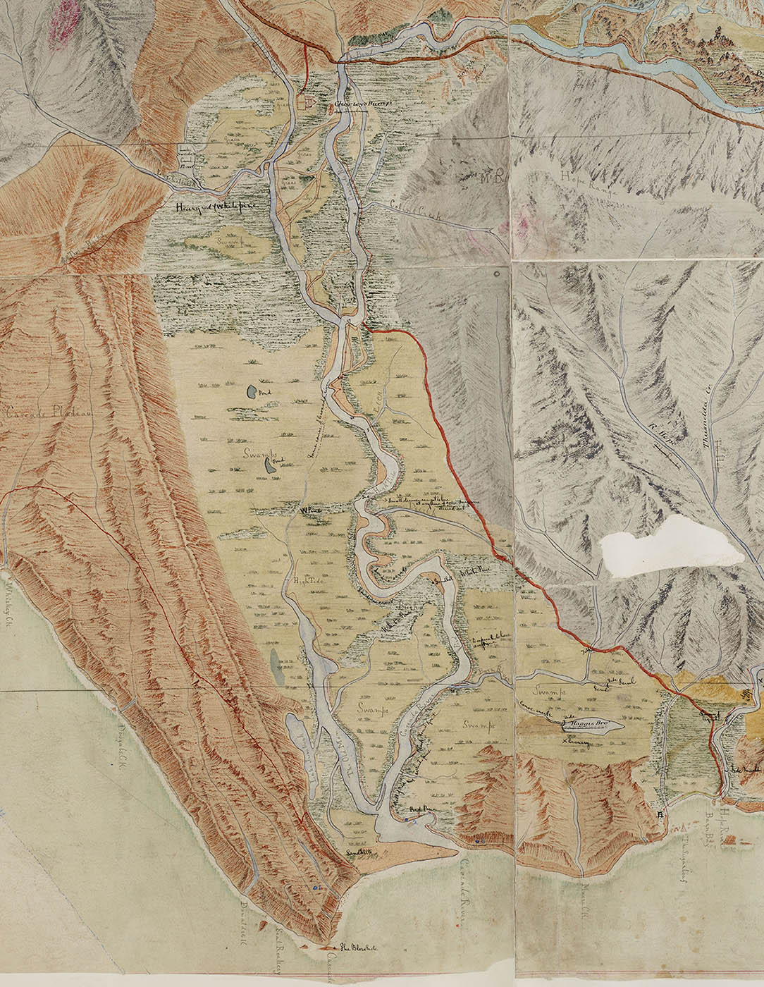 Excerpt from a hand sketched map showing mountain ranges, river.