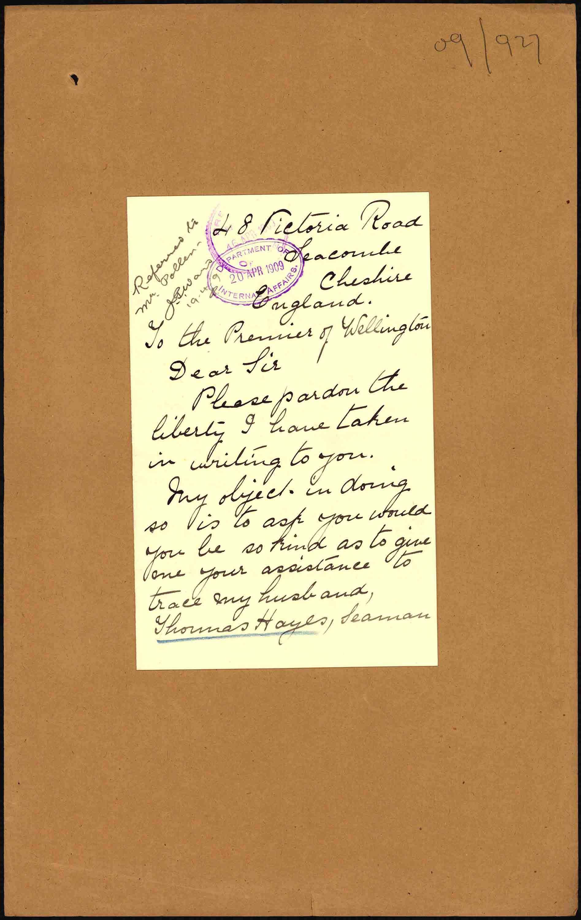 First page of Mrs. Hayes' letter