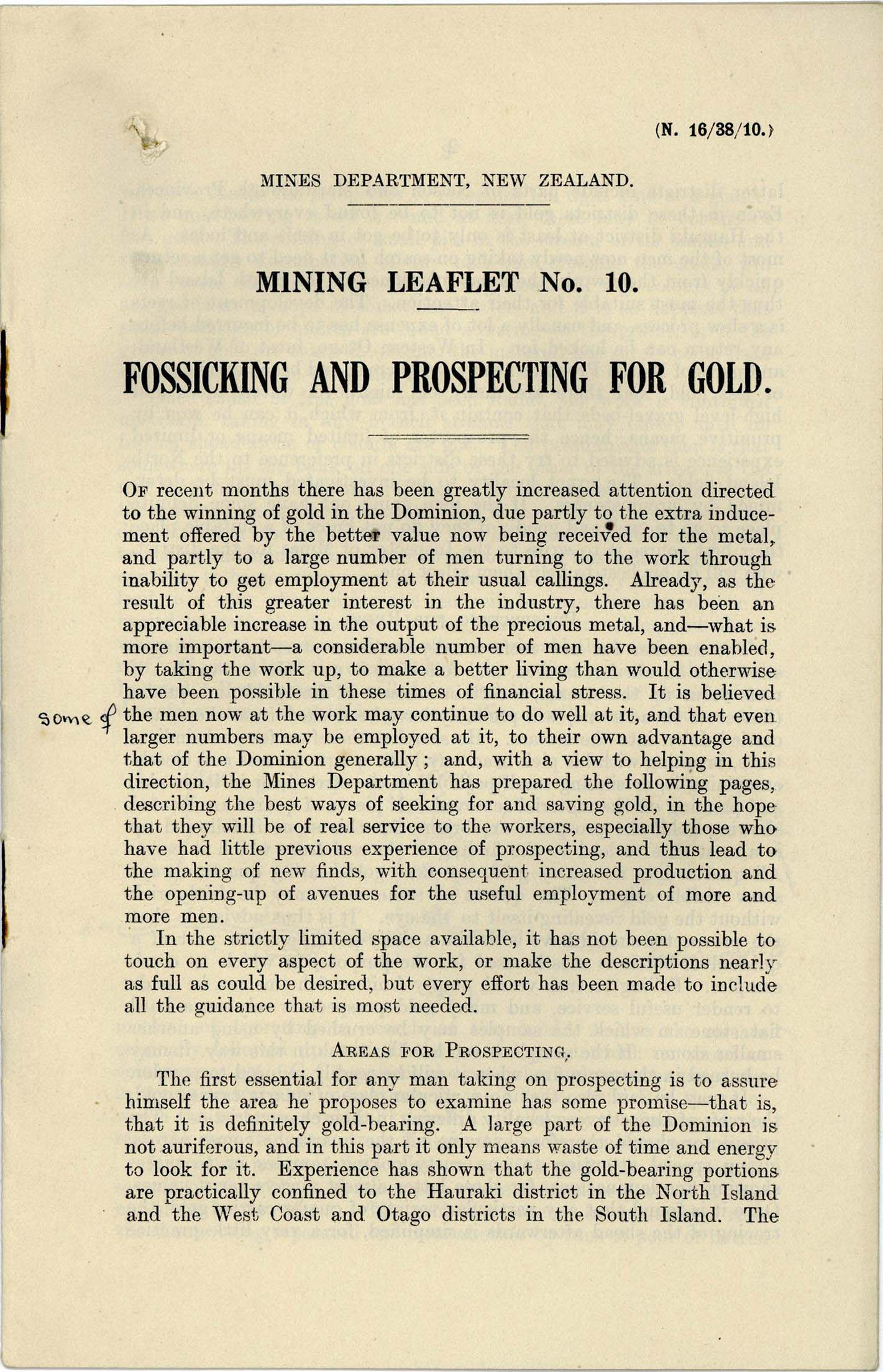 Excerpt from handwritten leaflet