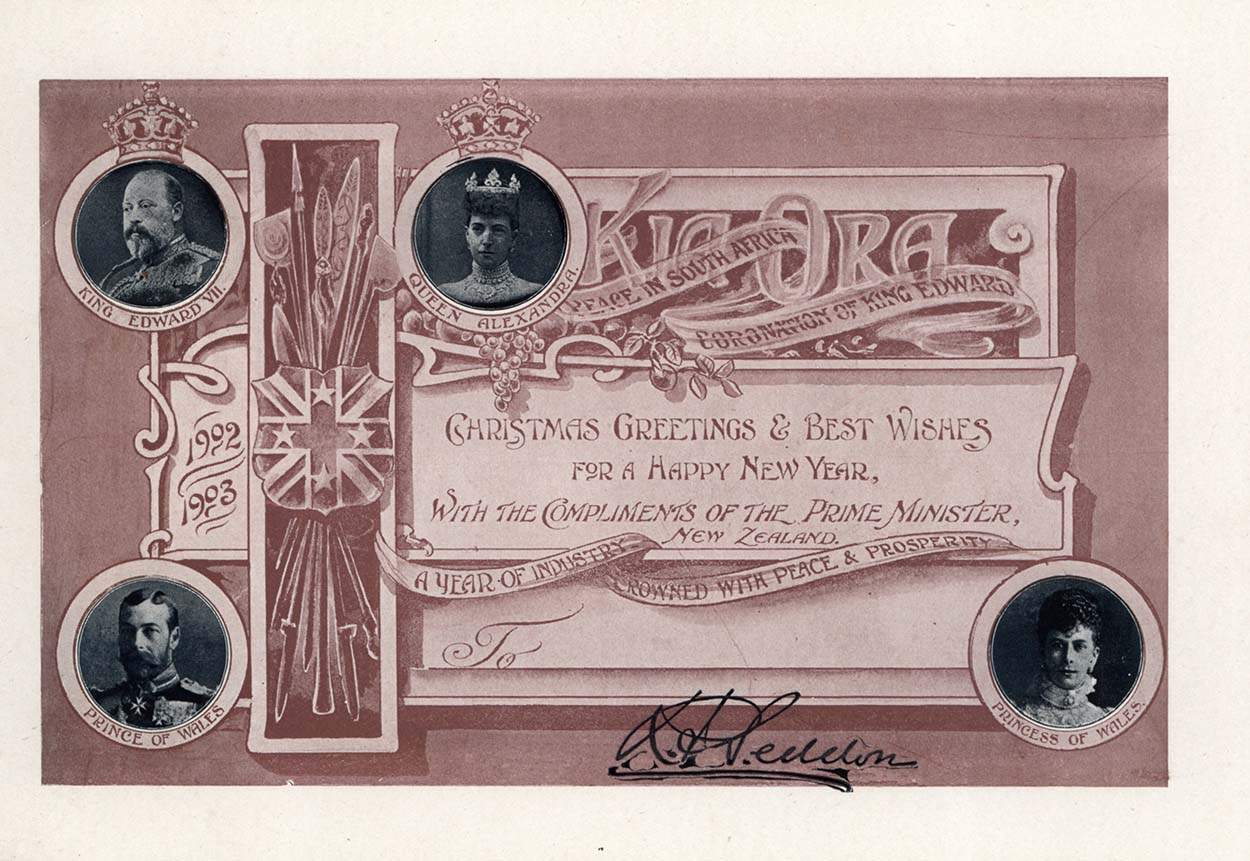 "Card with portraits of the Royal Family with words ""Christmas greetings and best wishes for a Happy New Year with the compliments of the Prime Minister, New Zealand"""