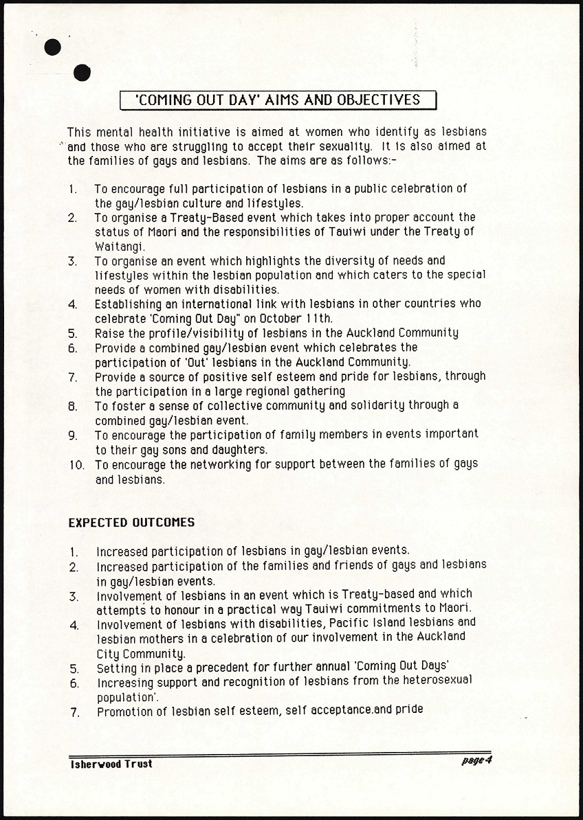 image of a white page with black text about the objectives and aims of national coming out day