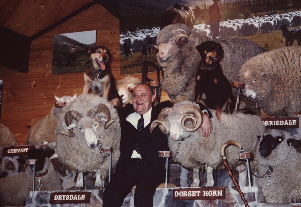 man in a suit sitting on a stage with his arms around two sheep with two dogs sitting on the sheeps backs