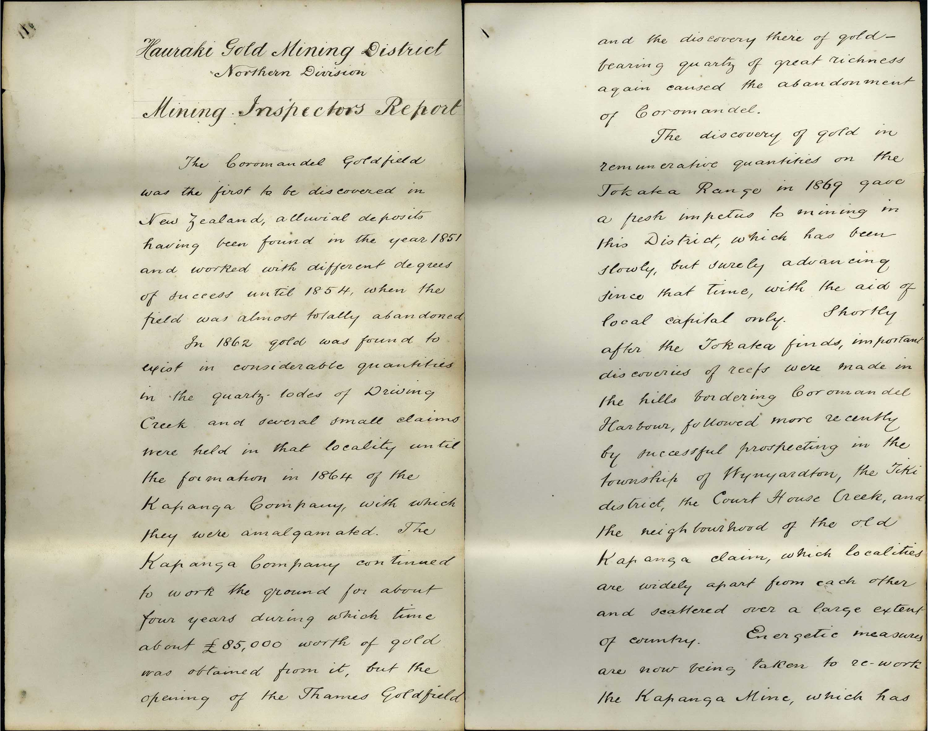 Digitised copy of handwritten mining report