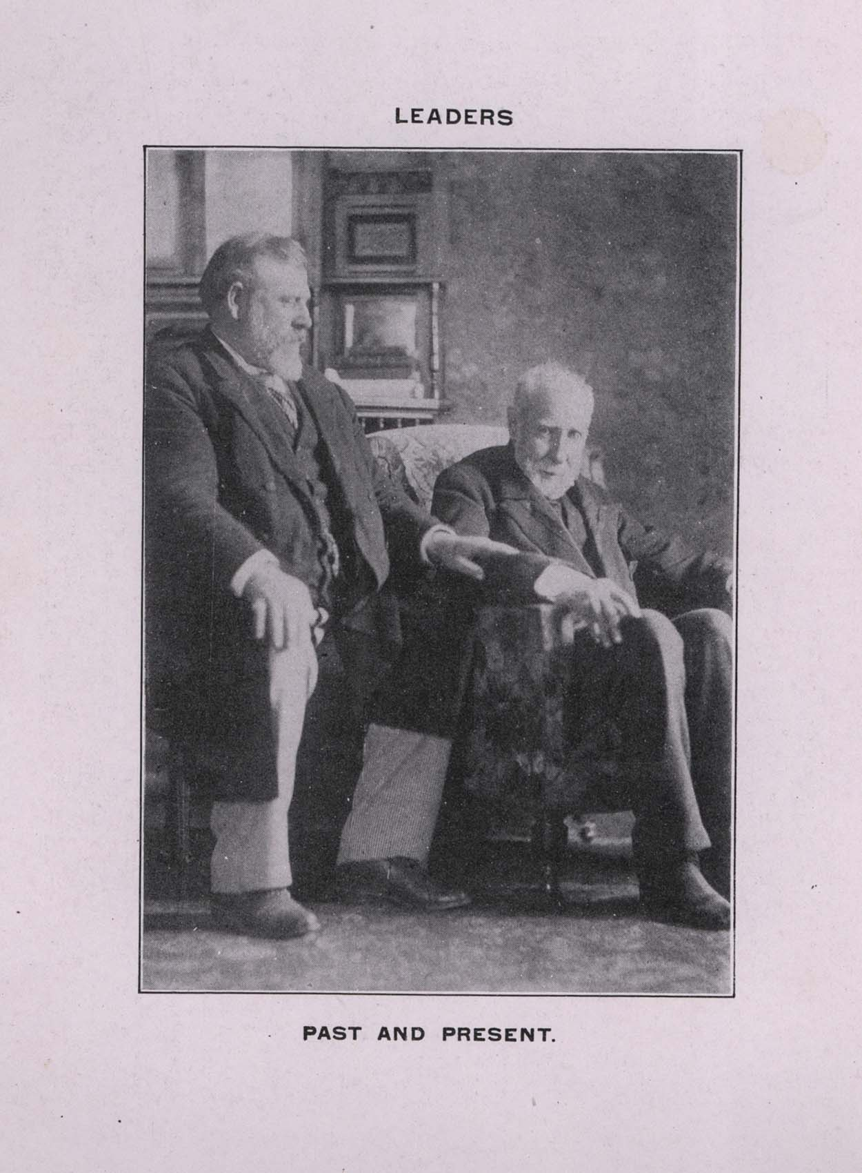 A black and white photo showing Richard Seddon and Julius Vogel