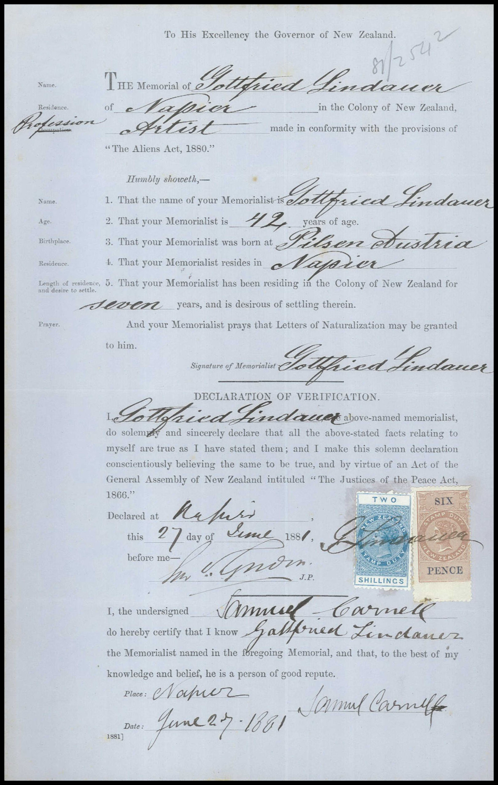 Page from the naturalisation file for Gottfried Lindauer, 1881. Archives New Zealand reference: ACGO 8333 IA1 1145 / [2] 1911/503.