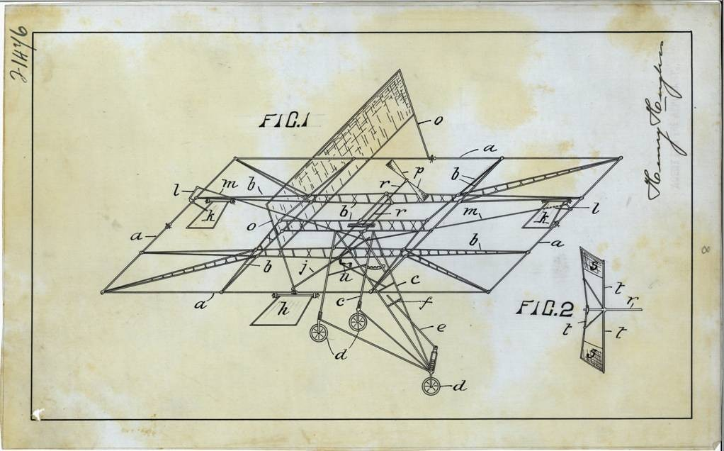 technical drawing of a flying machine
