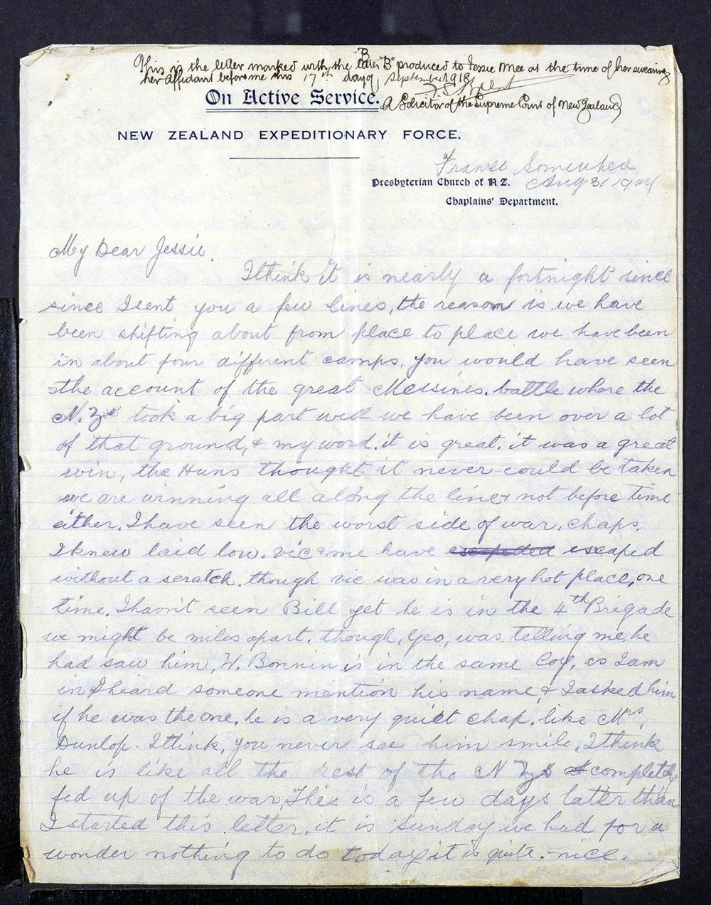 Alexander Mee letters to Jessie - 31 August 1917 - Page 1