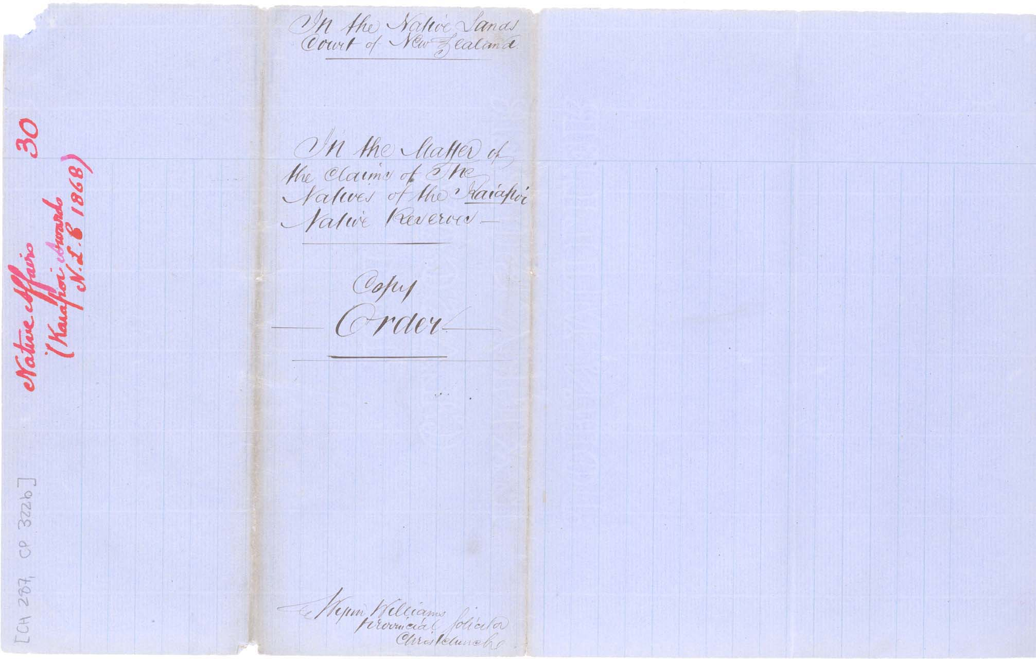 Descriptions - Kaiapoi Reserves Awarded in 1868 - Cover
