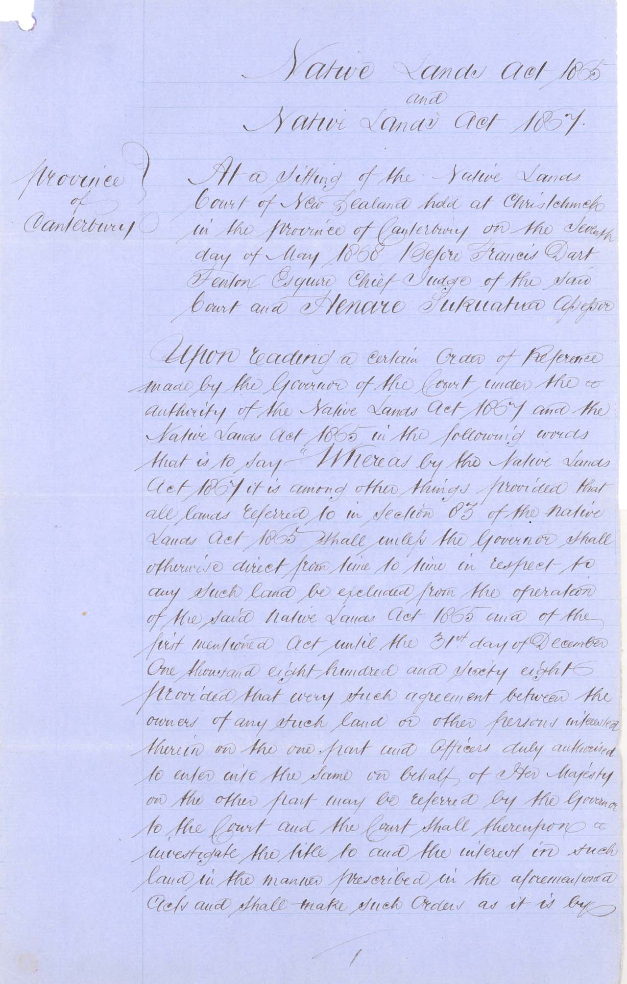 Descriptions - Sth Canterbury Native Land Court Reserves of 1868 - Page 1