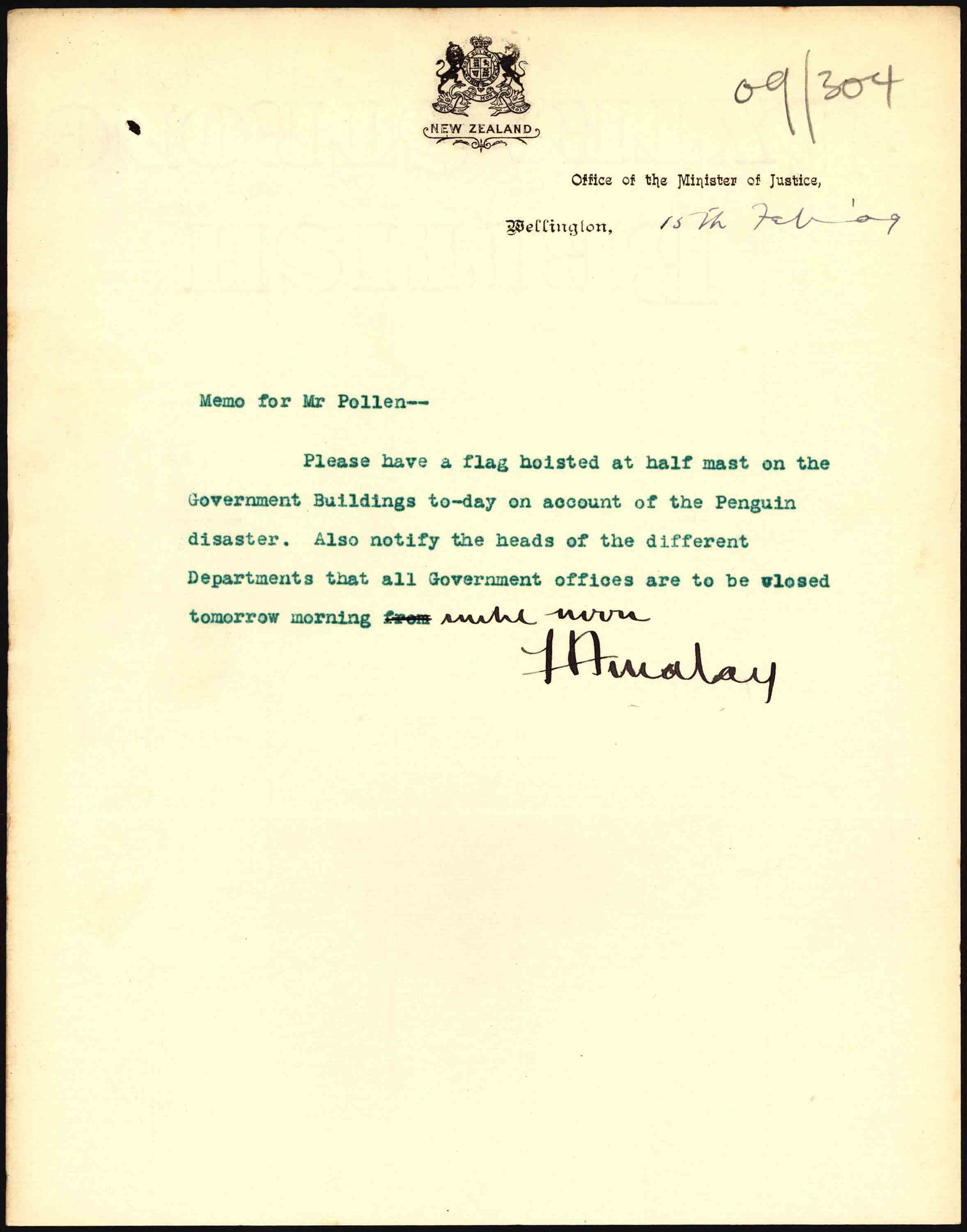 Notification of a half-day for the funeral of the victims