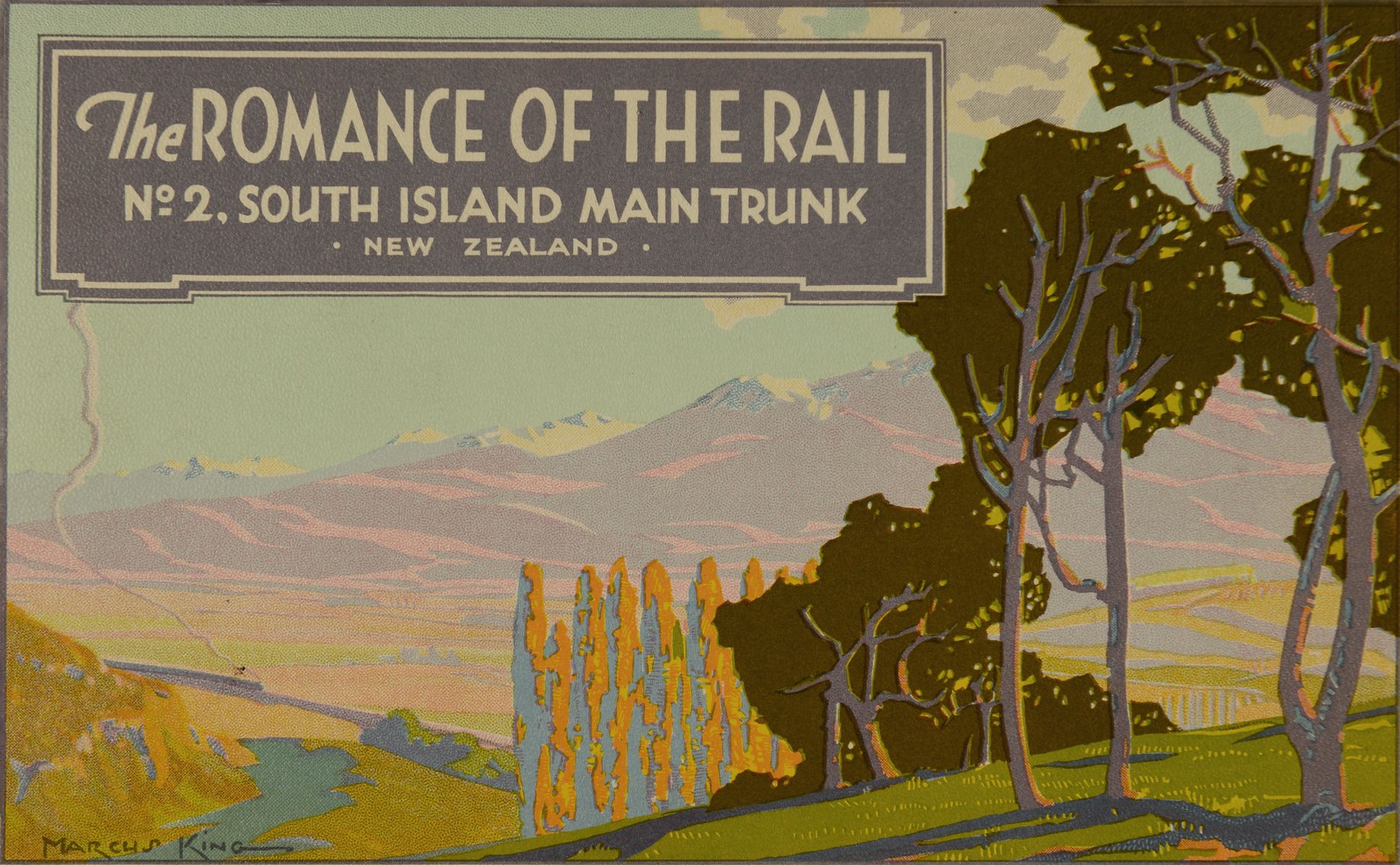 Poster of a hillside with trees and a train in the background