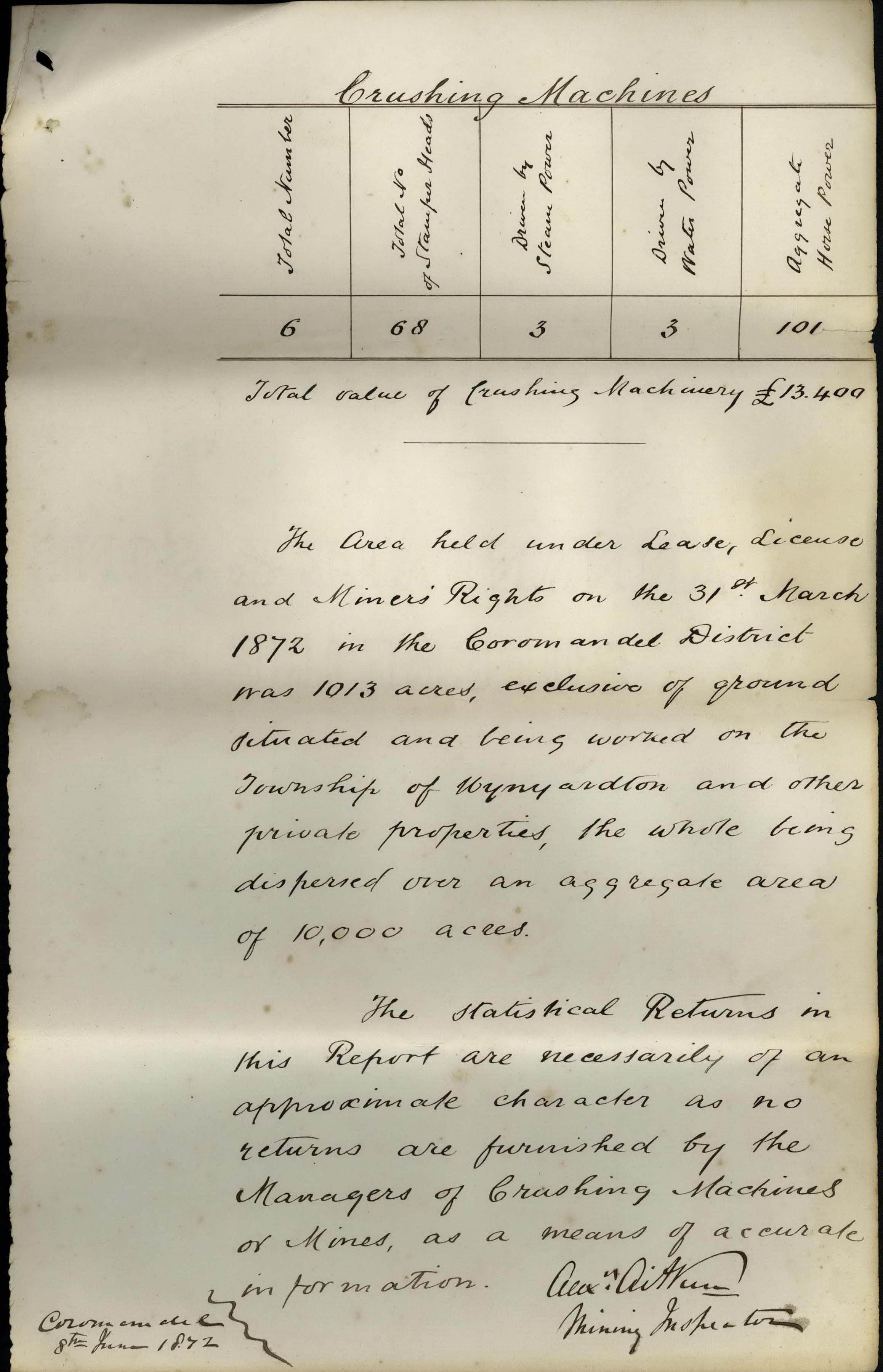 Digitised image of a handwritten mining report