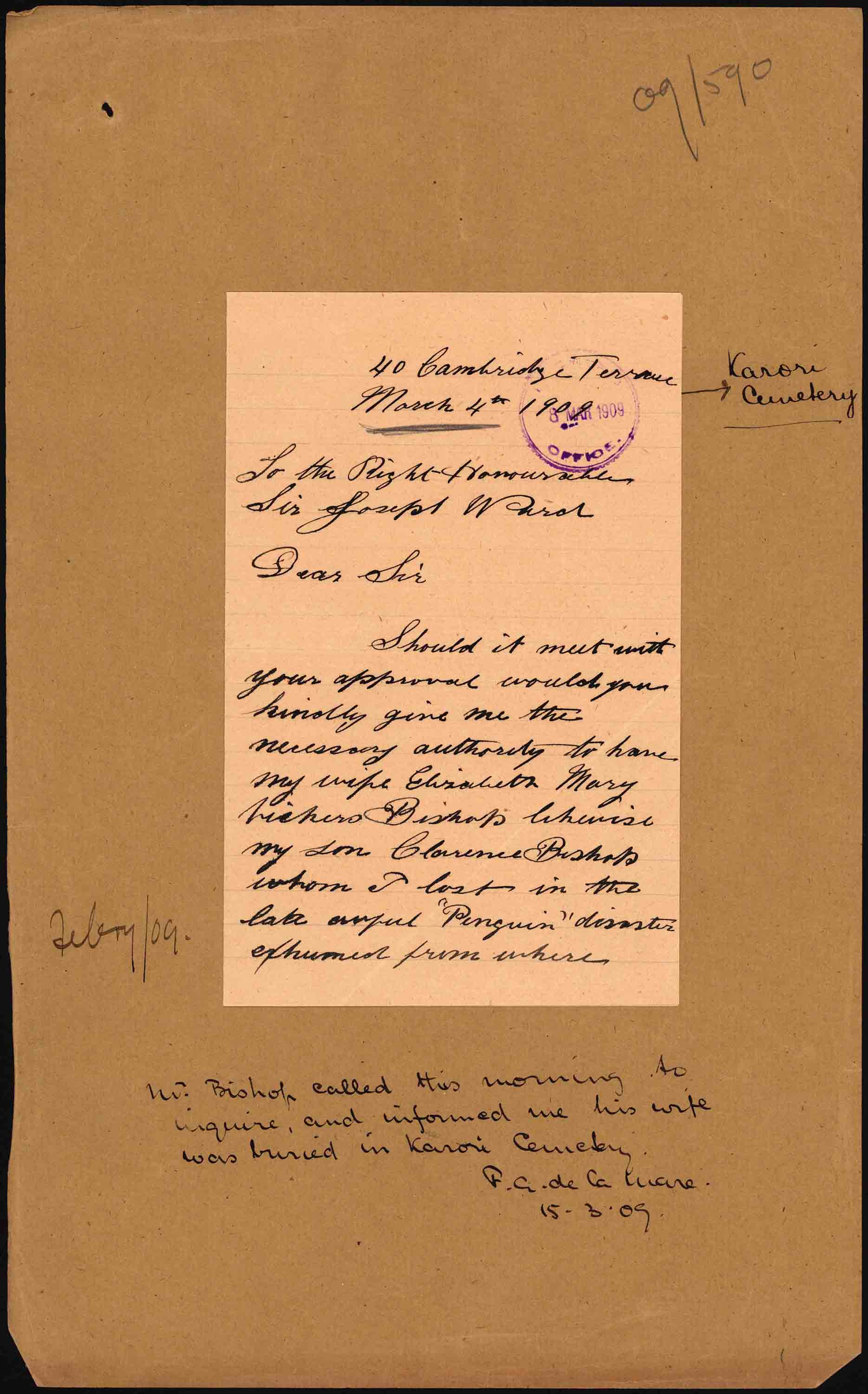 First page of Mr. Bishop's letter