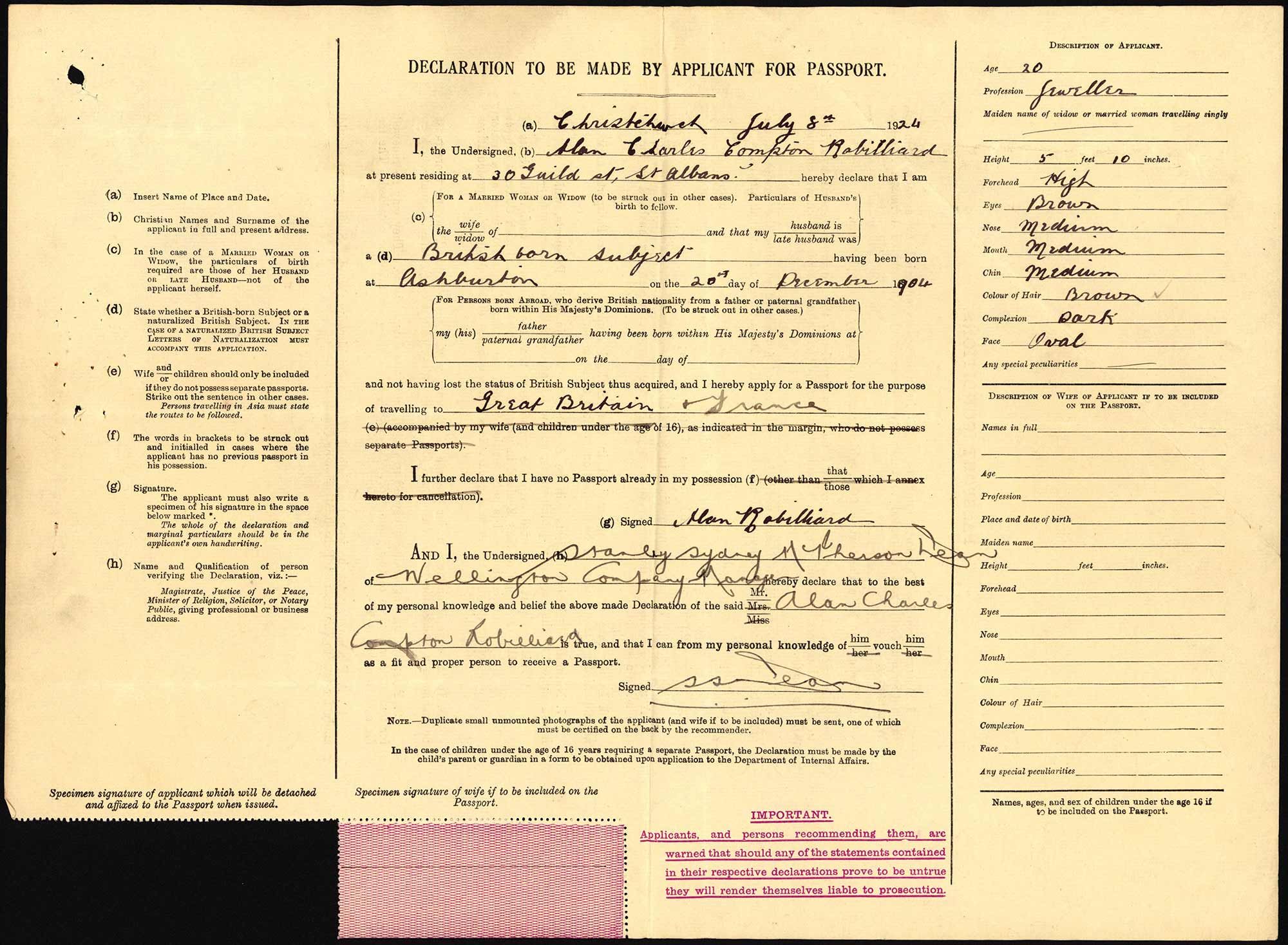 Alan Charles Compton Robilliard passport application