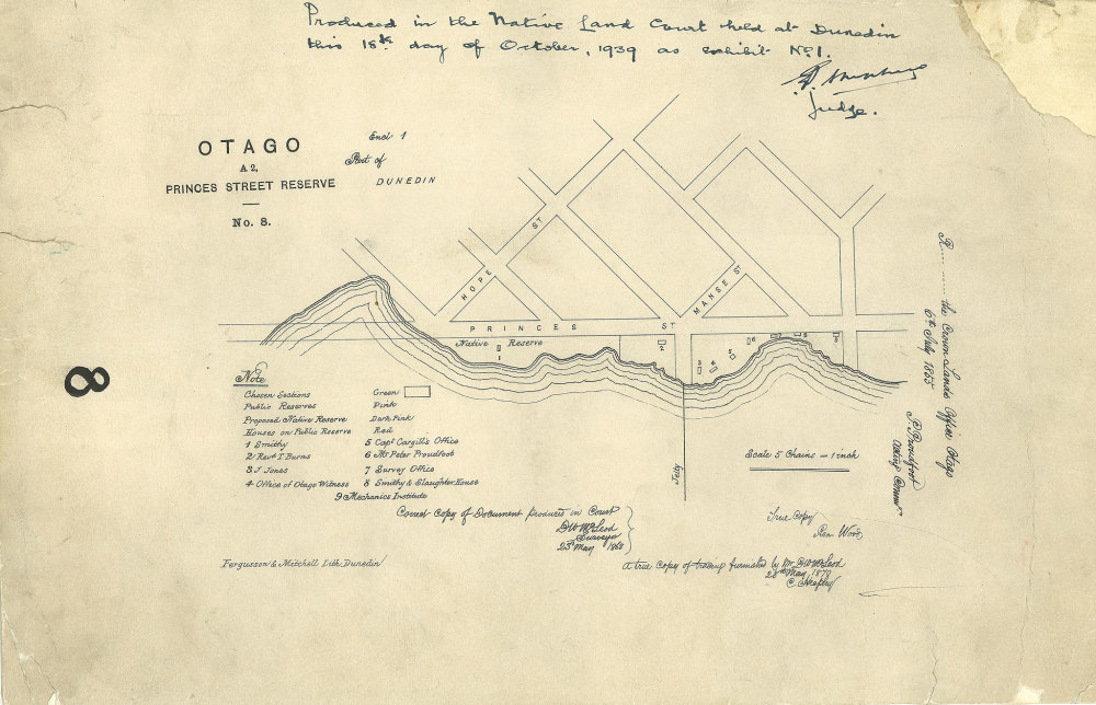 old map showing street layouts in otago