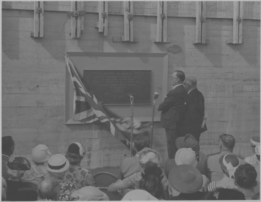 An image of Prime Minister Rt Hon Sydney Holland unveiling the foundation stone.