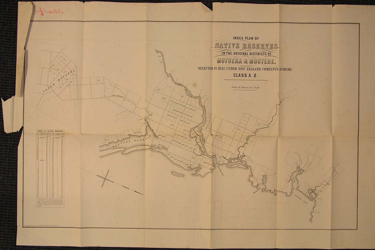 Map of Reserves, Moture & Motueka - 1870