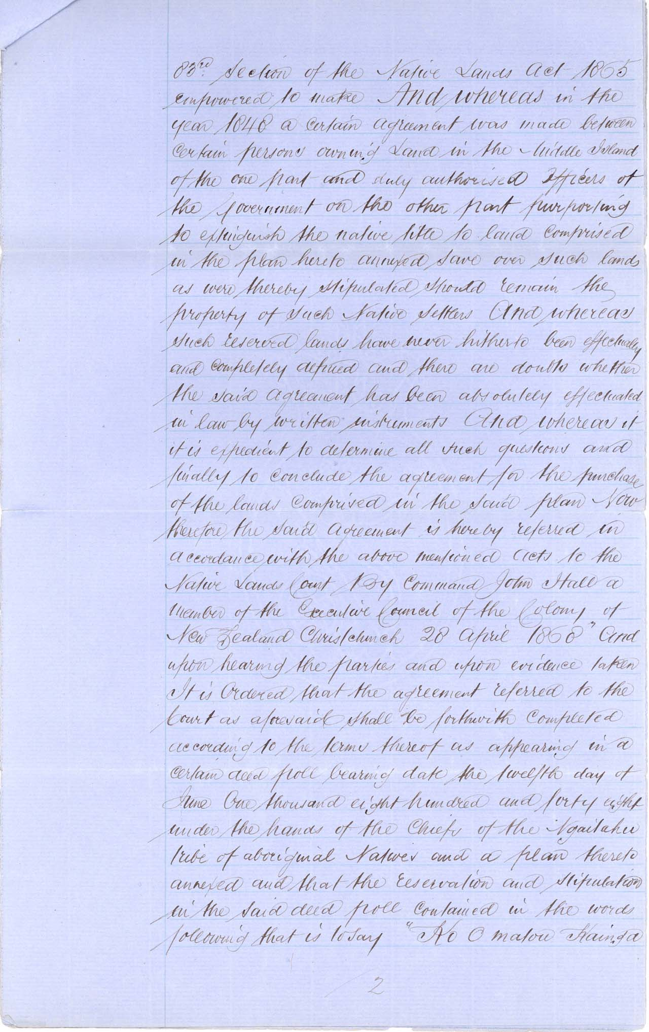 Descriptions Arowhenua Reserves Awarded - 1868 - Page 2