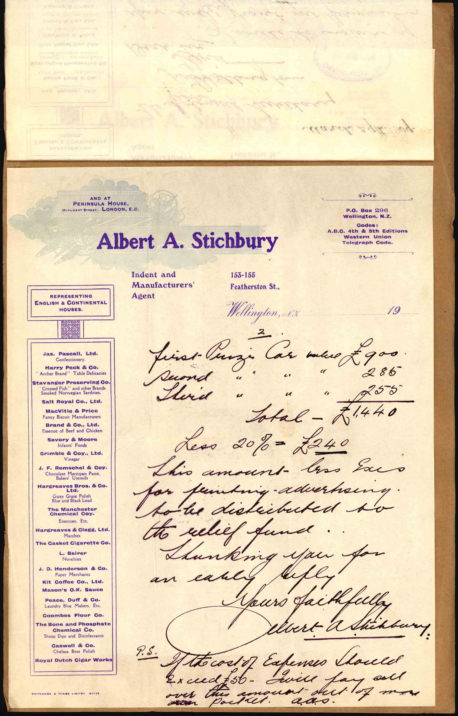Second page of Mr. Stichburry's letter