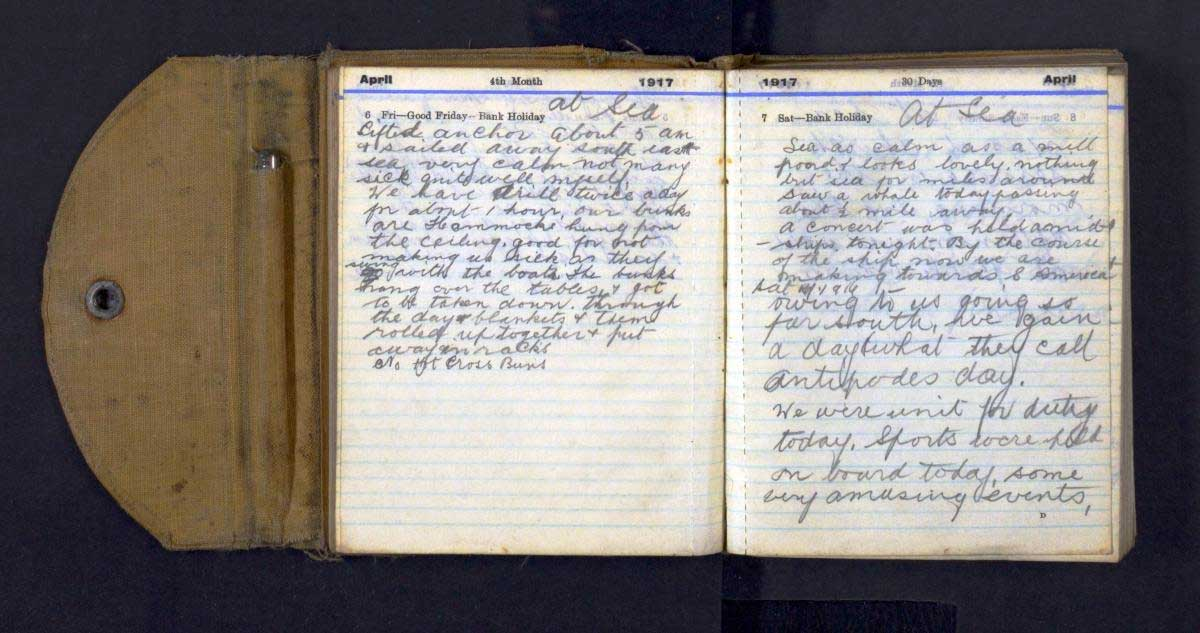 Alexander Mee's War Diary 6 and 7 April 1917