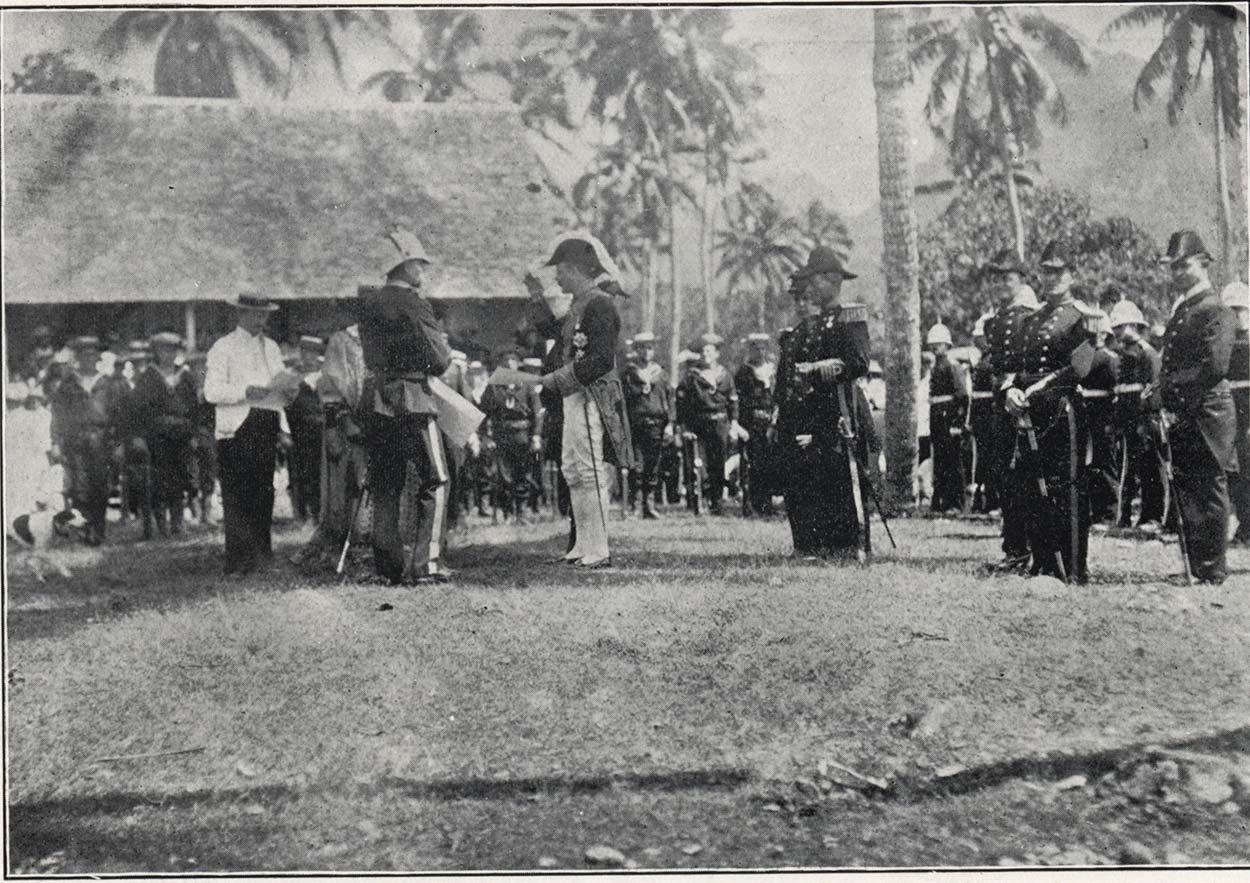 Black and white photo showing Lord Ranfurly in Rarotonga