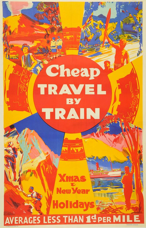 Bright coloured poster with block text 'cheap travel by train'