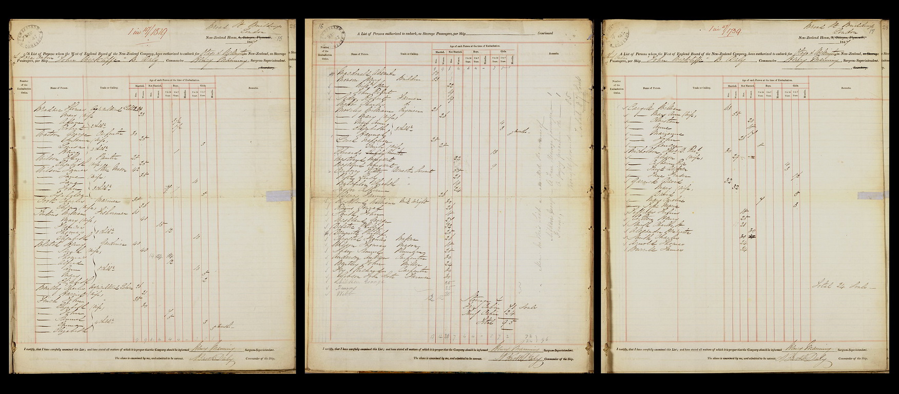 Passenger list for the 1847-1848 voyage of the 'John Wickcliffe' to Port Chalmers