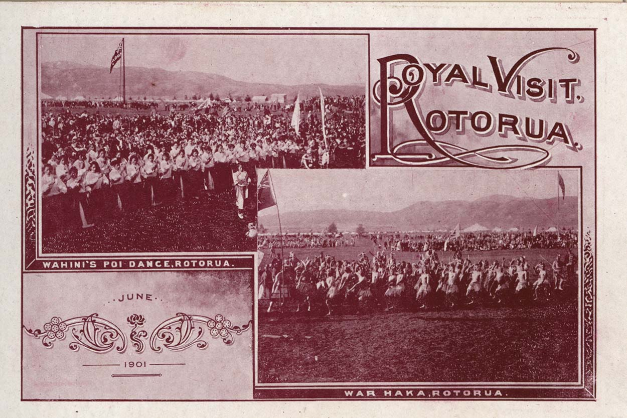 Red tinged card showing two images, one of a haka and the other of a poi performance