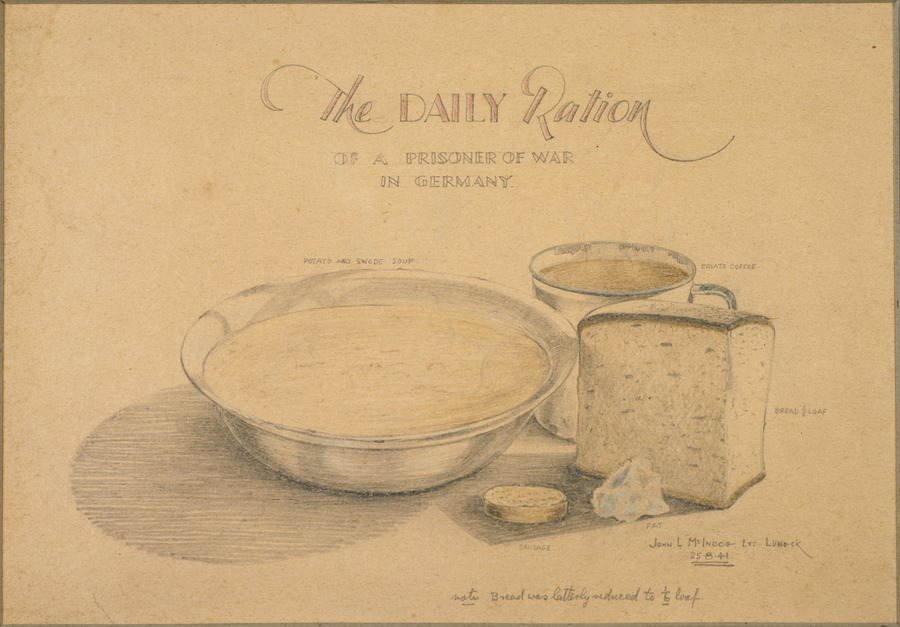 "Drawing of a bowl of potato and swede soup, a mug of coffee, one fifth of a loaf of bread, a slice of sausage and some fat. There is a note at the bottom of the image that reads ""note, bread was latterly reduced to one sixth of a loaf""."