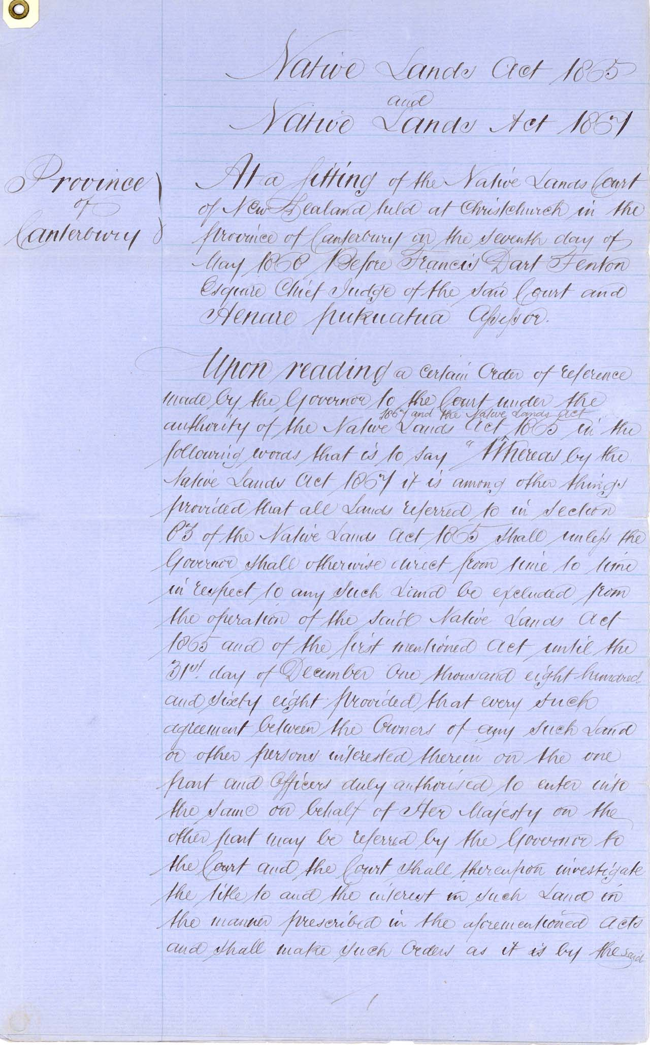 22 - Descriptions Arowhenua Reserves Awarded - 1868 - Page 1