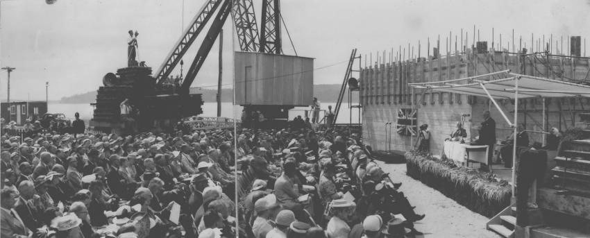 Crowd gathered at Auckland Harbour Bridge unveiling ceremony