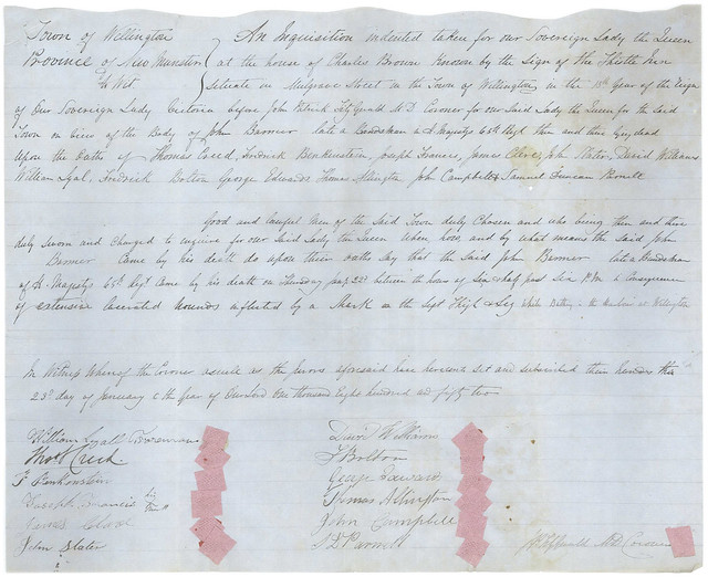 Page from the coroner's inquest file regarding the death of John Balmer, 1852.