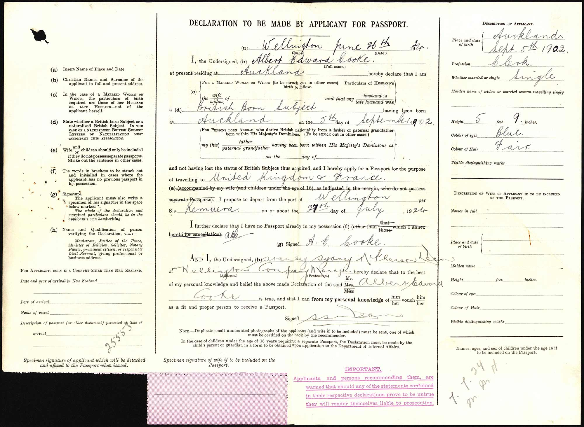 Albert Edward Cooke passport application