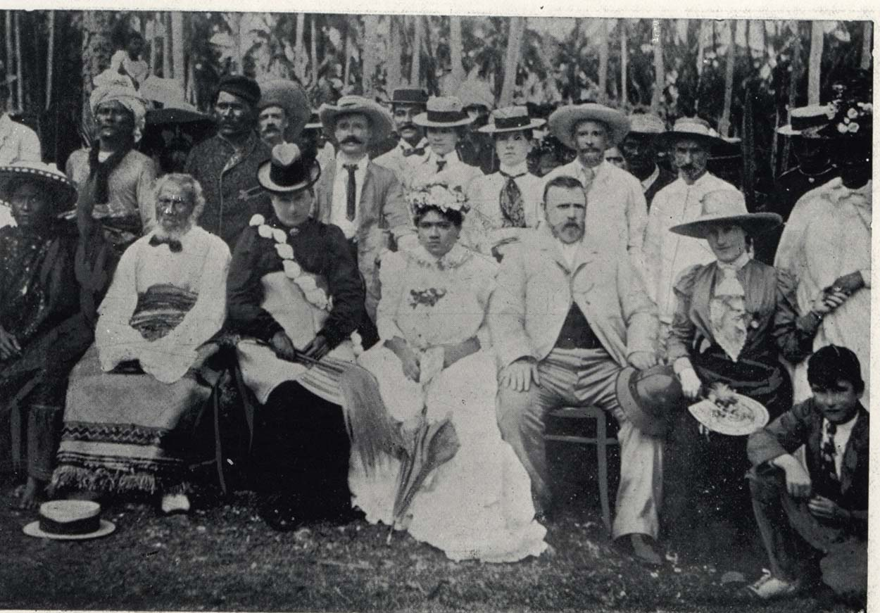 Black and white image showing Mr and Mrs Seddon seated with the King and Queen of Niue