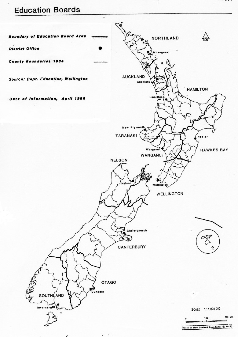 Black and white outline of New Zealand showing Education Board boundaries