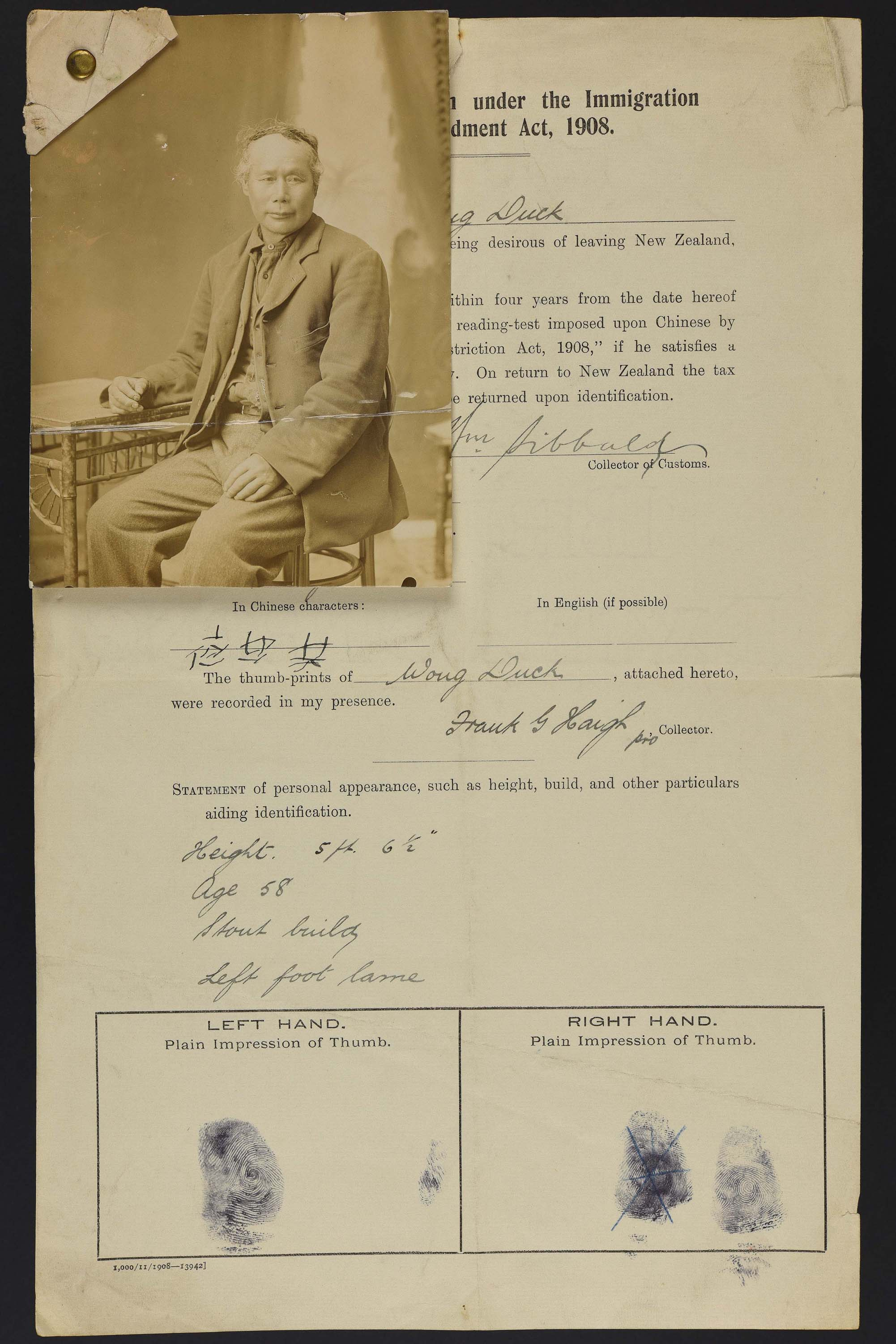 Sepia photo of a seated Chinese man attached to his immigration record.