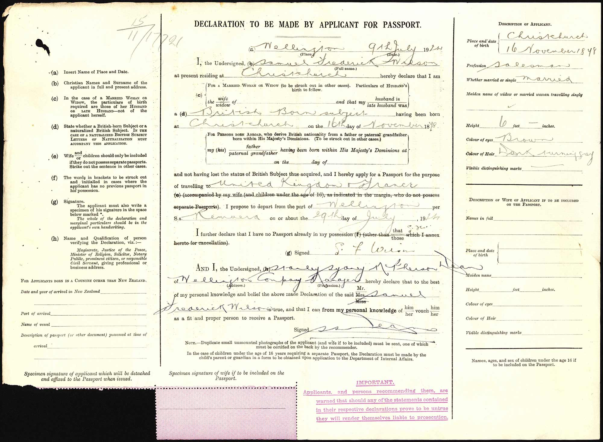 Samuel Frederick Wilson passport application