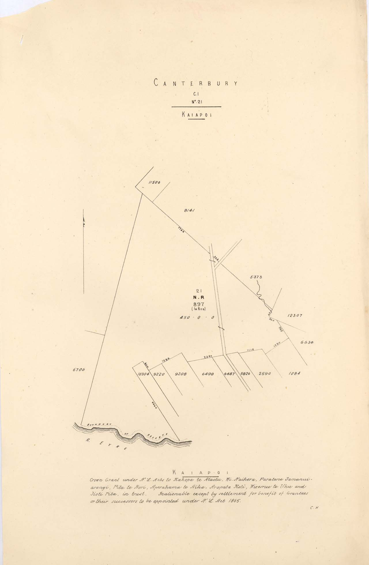 Plan showing plots in Kaiapoi