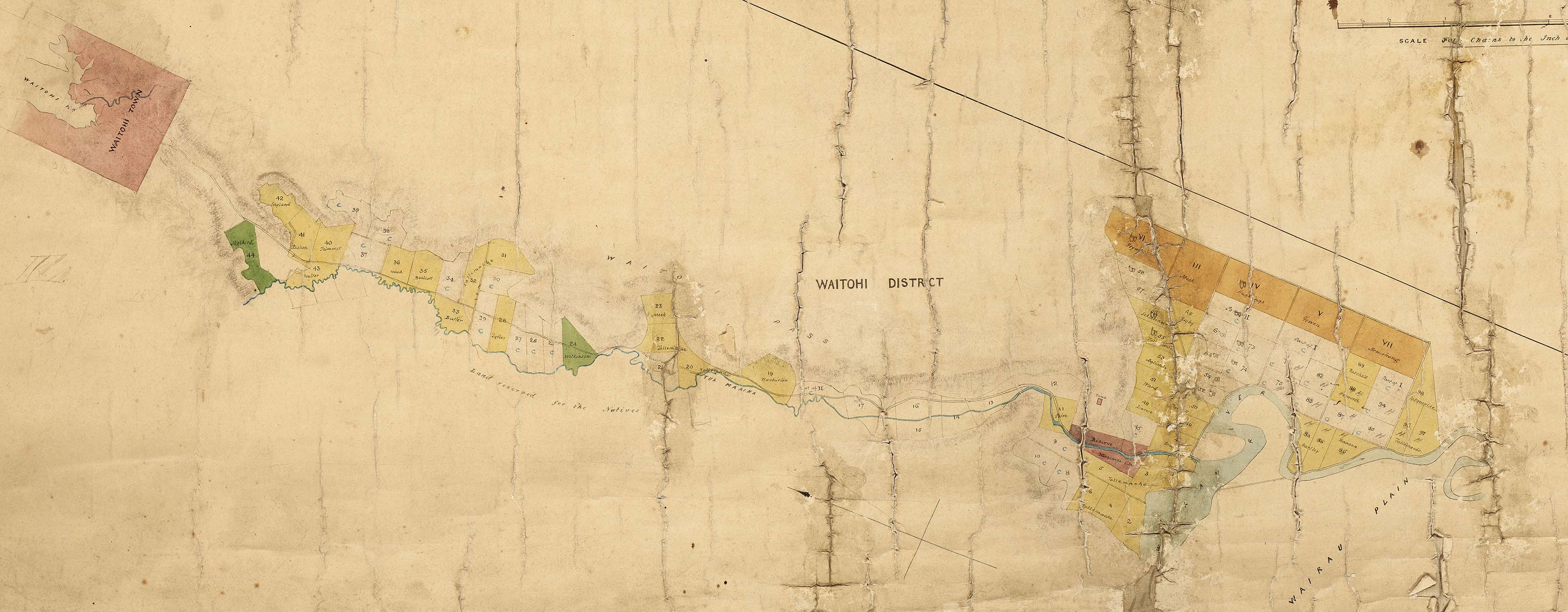 Portion of hand drawn map showing sections, mountain range and a river