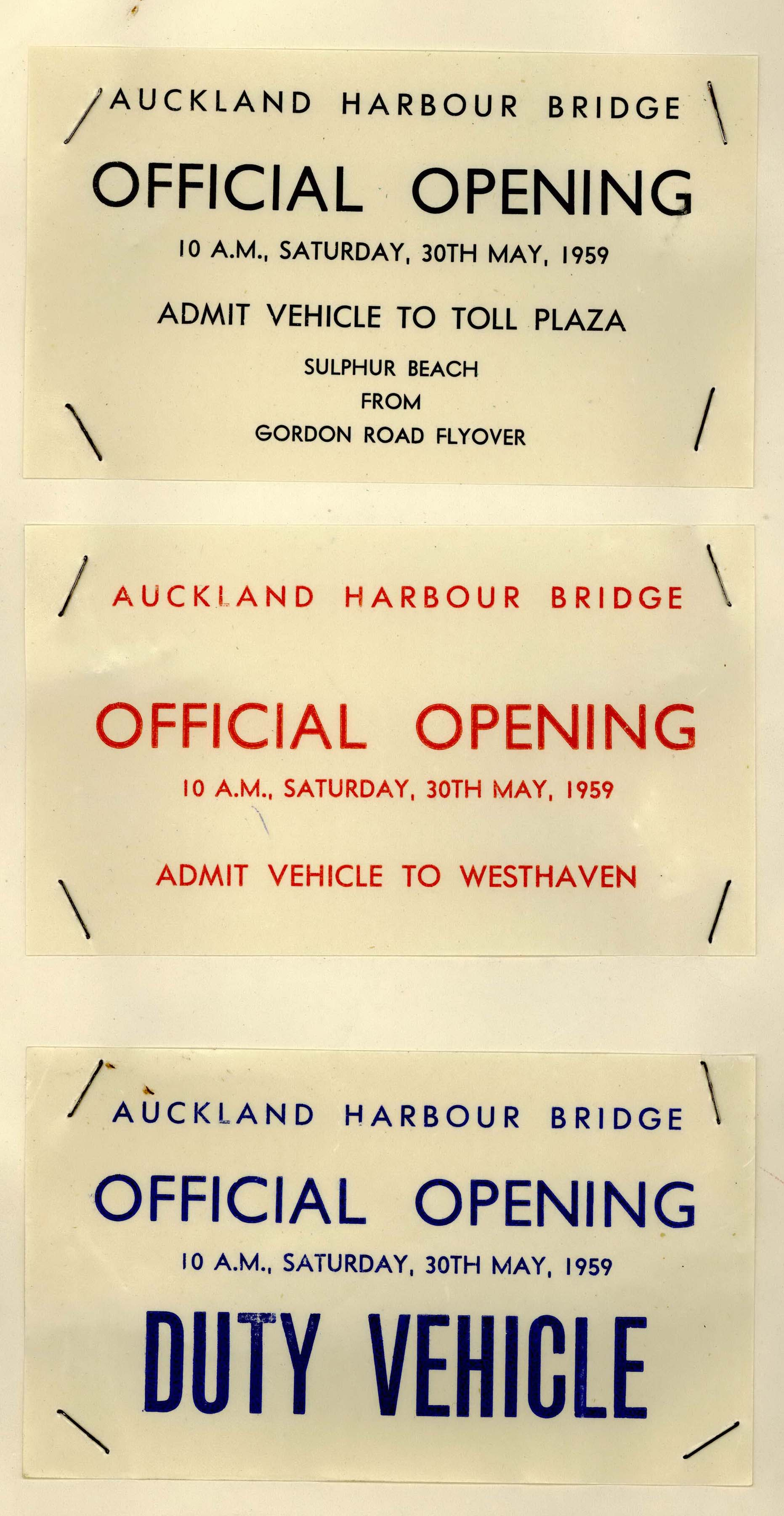A scan of the card allowing vehicle access for the Bridge opening