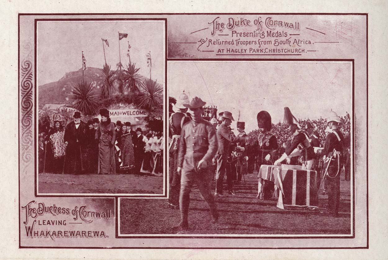 "Red tinged card with two images ""The Duke of Cornwall presenting medals to return troopers from South Africa at Hagley Park, Christchurch"" and ""The Duchess of Cornwall leaving Whakarewarewa"""