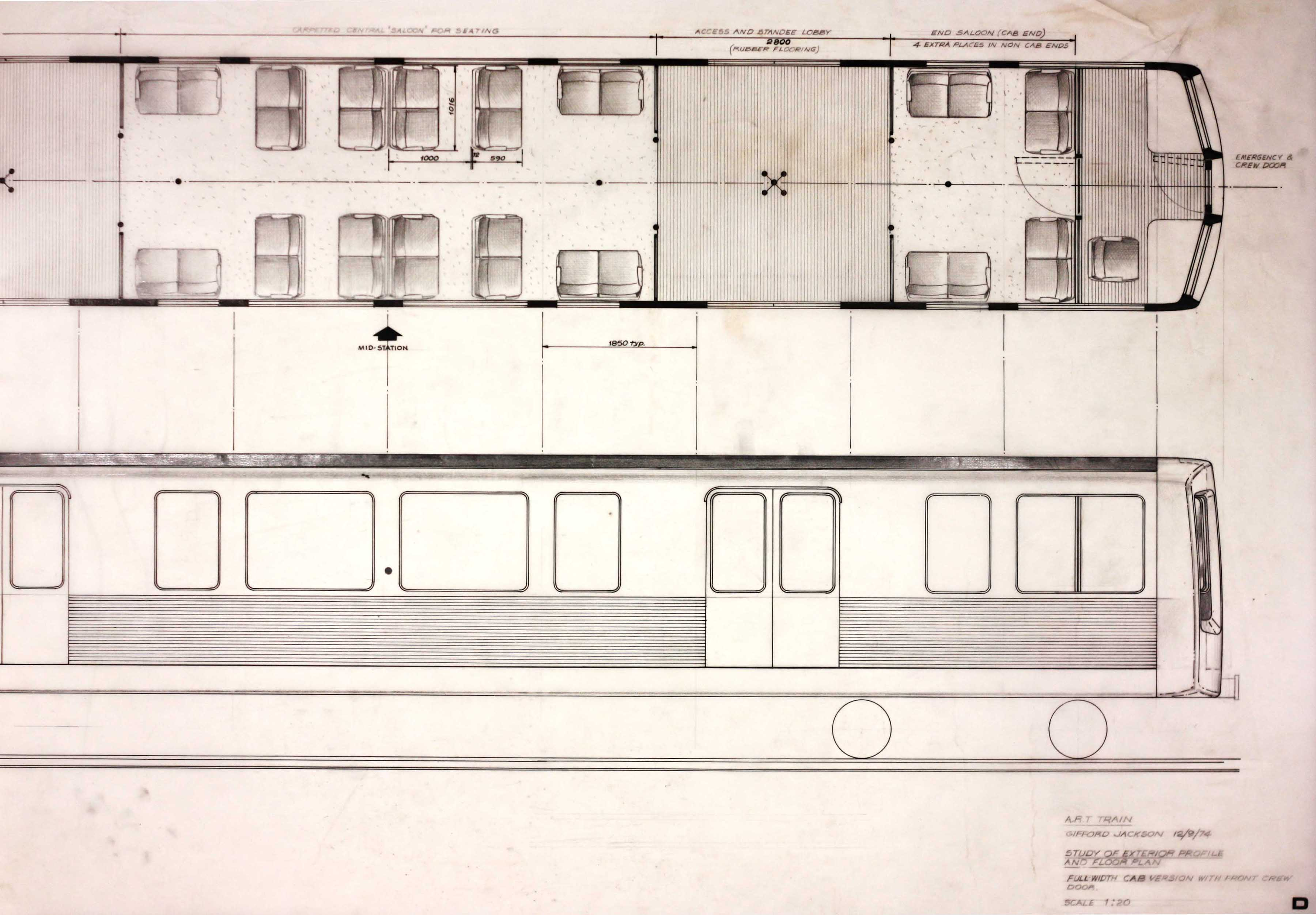 A sketch plain showing the side and floor of a train