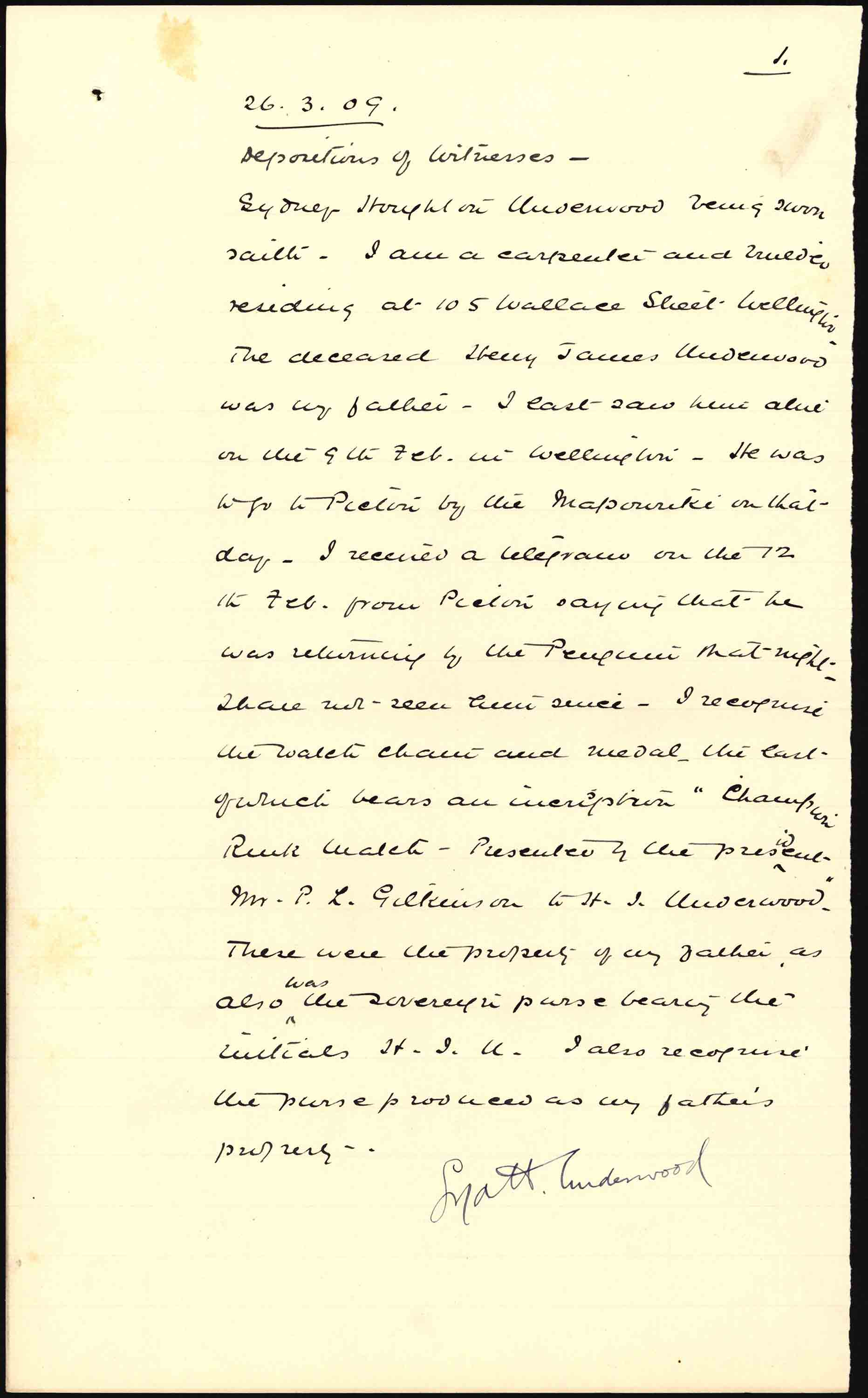Deposition of witness for Henry James Underwood