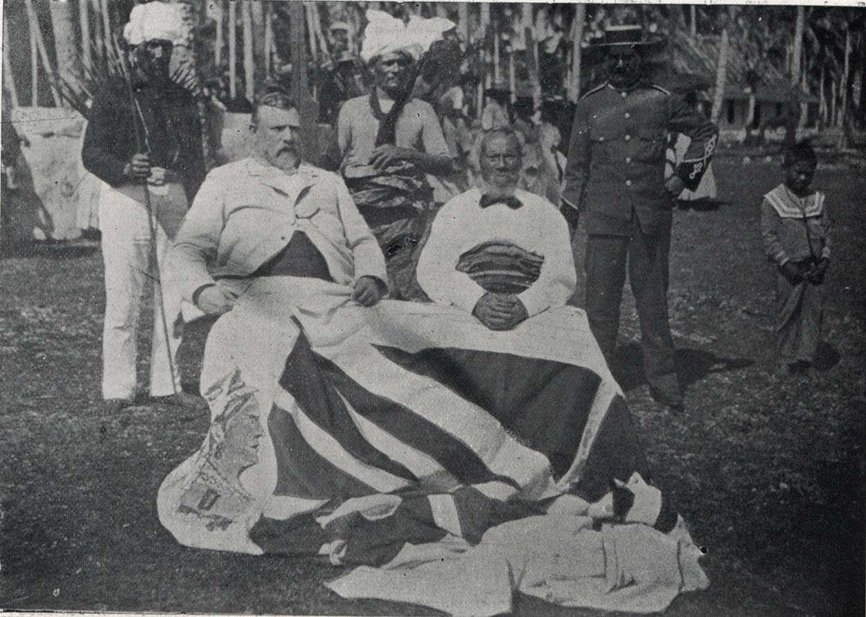 Black and white photo of Richard Seddon with King of Niue, seated
