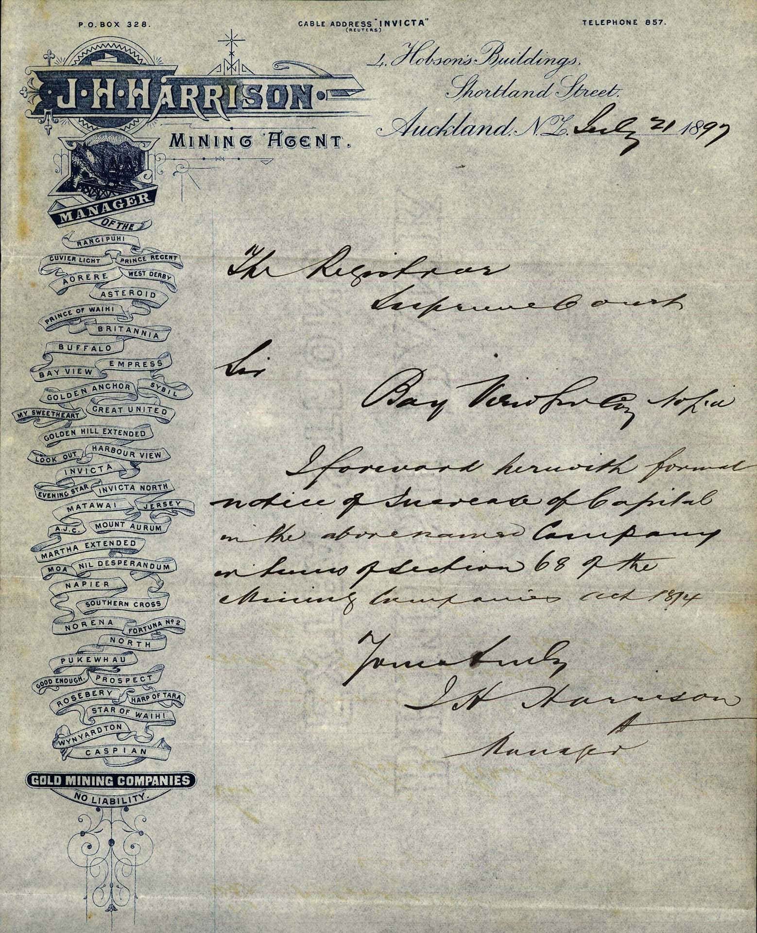 Handwritten registration file with branded letterhead