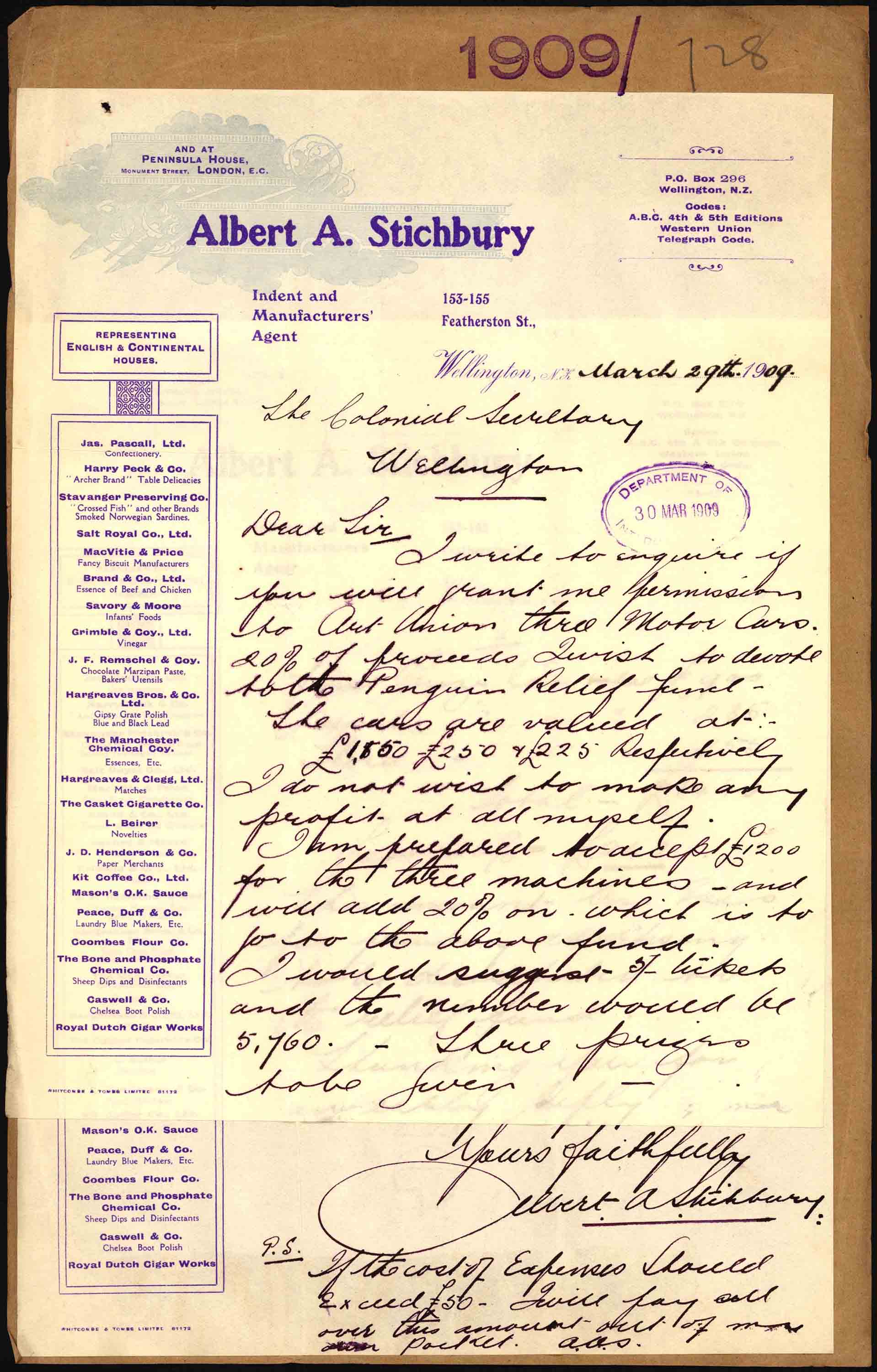 First page of Mr. Stichburry's letter